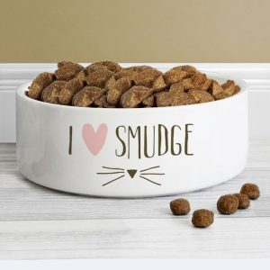 Personalised Cat Features White Bowl