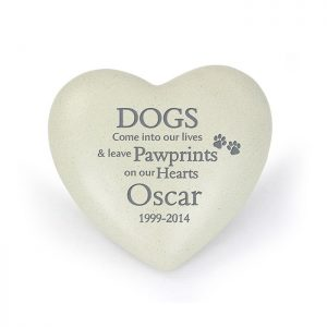 Personalised Dog Paw prints Heart Memorial