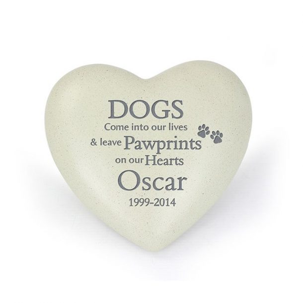 Personalised Dog Paw prints Heart Memorial