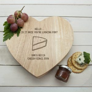 Personalised Is It Brie Heart Cheese Board Set