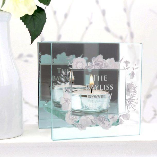 Personalised Mirrored Glass Tea Light Holder