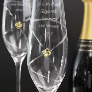 Personalised Pair Of Infinity Flutes With Gold Swarovski Elements
