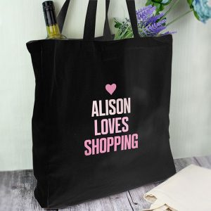 Personalised Pink Text Black Cotton Bag