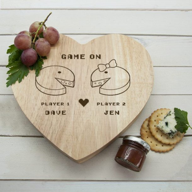 Personalised Retro Games Couples Cheese Board Set