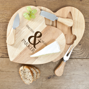 Personalised Romantic Heart Cheese Board Set