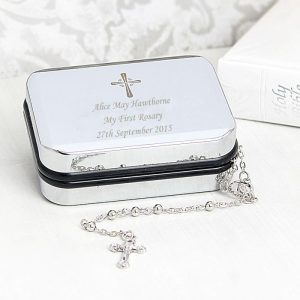 Personalised Rosary Beads & Cross Trinket Box