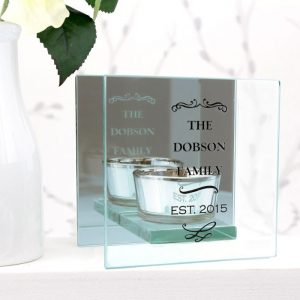 Personalised Scroll Mirrored Glass Tea Light Holder