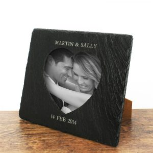 Personalised Slate Heart Photo Frame