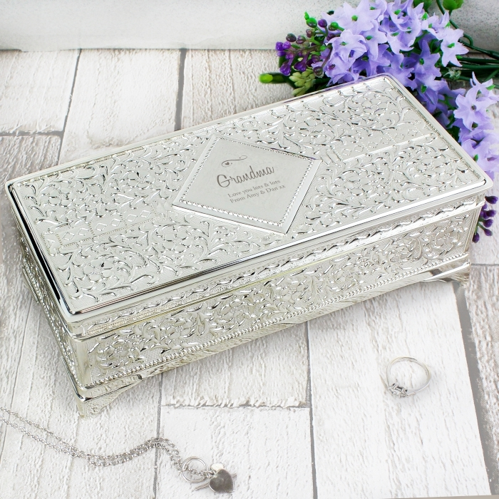 Personalised Swirls Hearts Antique Silver Plated Jewellery Box Love My Gifts