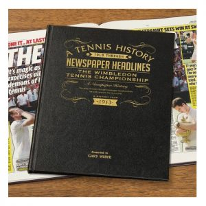 Personalised Wimbledon Tennis Leather Newspaper Book