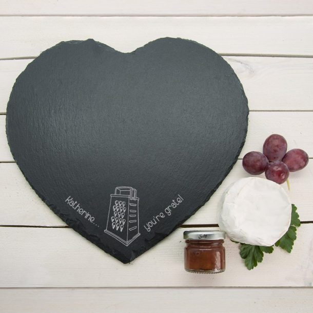 Personalised You're Grate Slate Heart Cheese Board