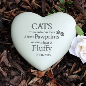 Personalised Cat Paw Prints Heart Memorial