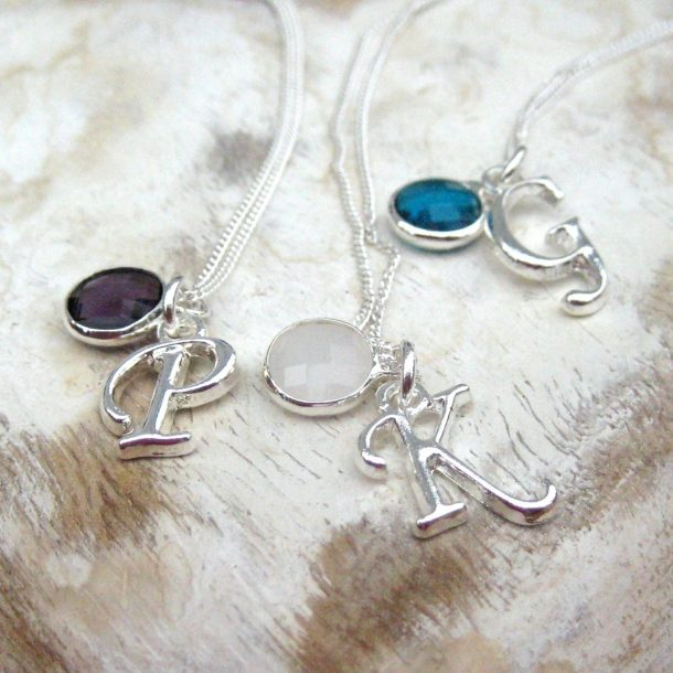 Initial Birthstone Necklace