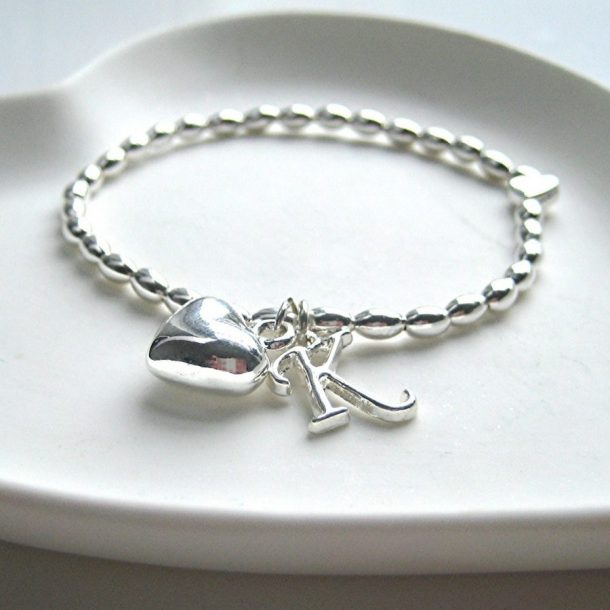 Initial Silver Beaded Stretch Bracelet