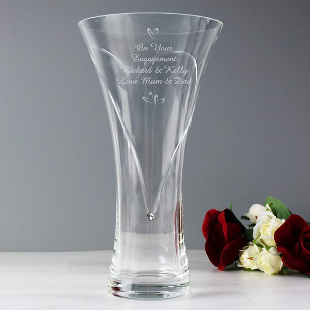 Personalised Large Hearts Diamante Vase with Swarovski Elements