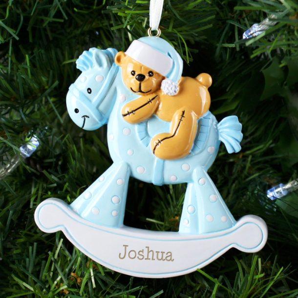 Personalised Blue Rocking Horse Decoration