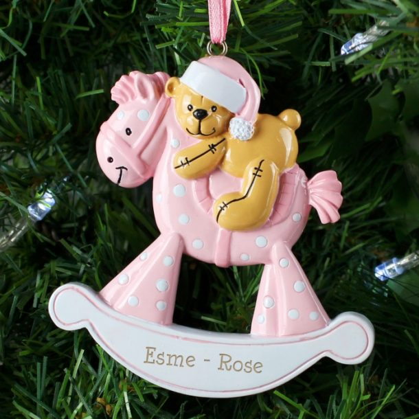 Personalised Pink Rocking Horse Decoration
