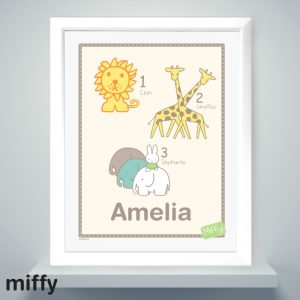 Personalised Miffy at the Zoo Large Name Frame