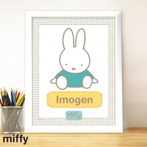 Personalised Miffy Gingham Large Name Frame