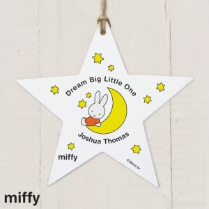 Personalised Miffy Moon & Stars Wooden Star Decoration