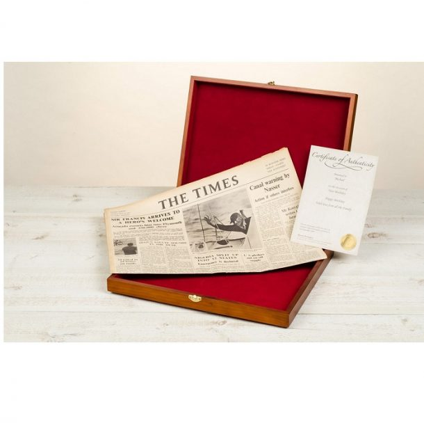 Original Newspaper For Any Date & Wooden Gift Box