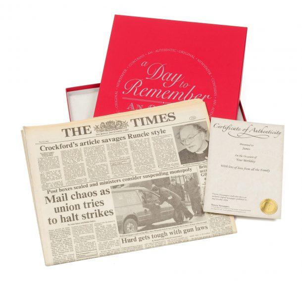 Original Newspaper & Gift Box - Any Date