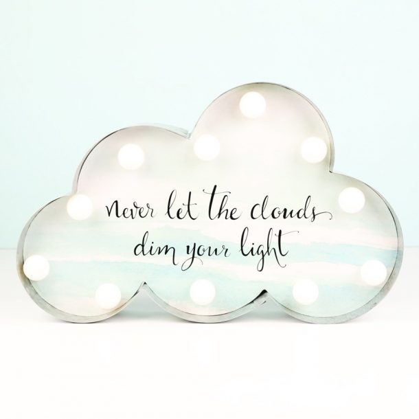 Pastel Patterned LED Cloud Quote Light