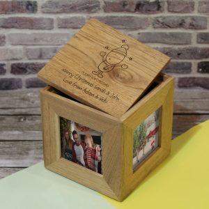 Personalised Chilli & Bubbles Christmas Wooden Photo Cube