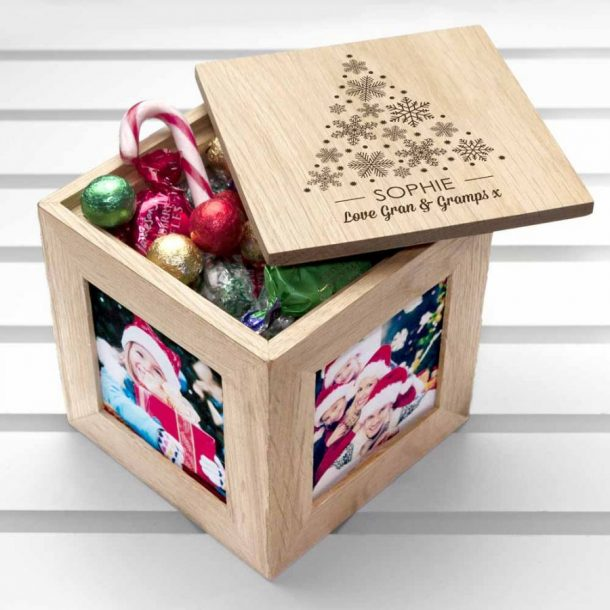 Personalised Christmas Photo Cube With Festive Treats