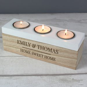 Personalised Classic Triple Tea Light Box