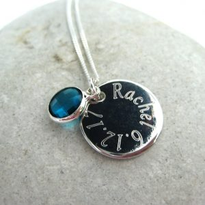 Personalised Edge Birthstone Necklace