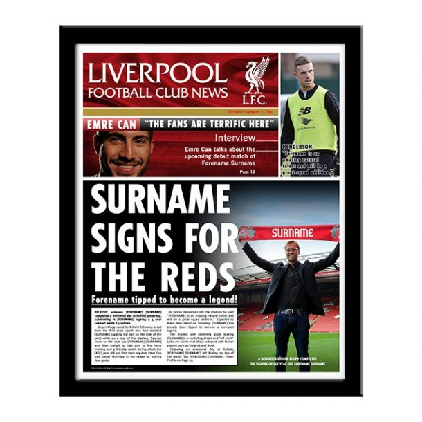 Personalised Liverpool FC Newspaper