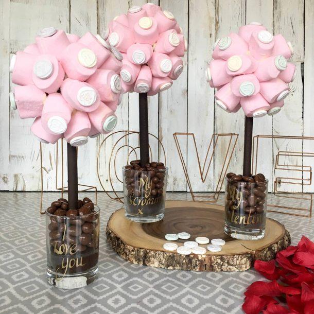 Personalised Marshmallow Love Heart Sweet Trees