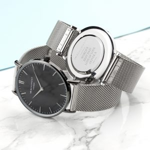 Personalised Men's Metallic Watch With Black Face