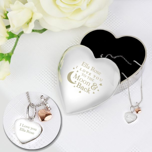 Personalised Moon & Back Trinket Box & Silver Pendant Gift Set