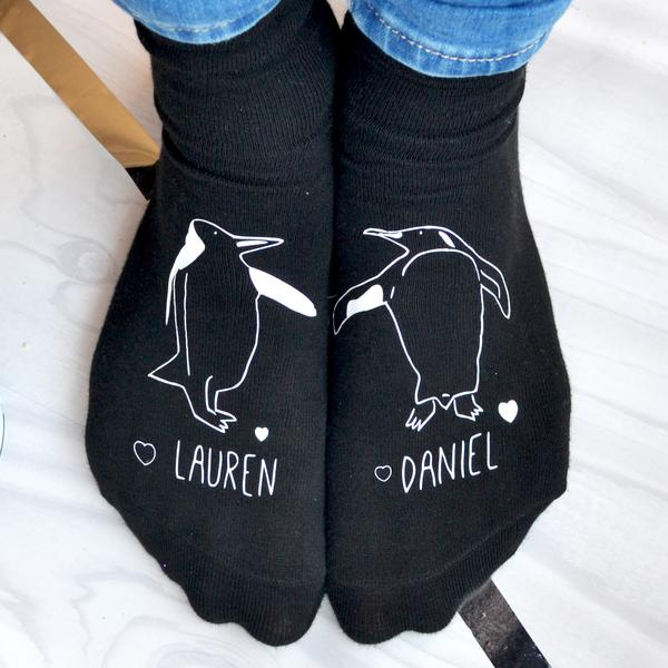 Personalised Penguins In Love Socks