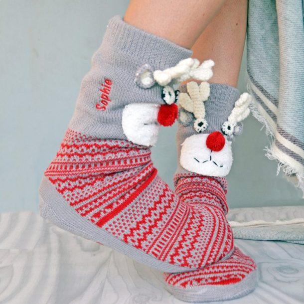 Personalised Slipper Boots - Reindeer