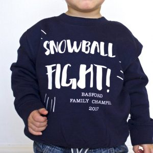 Personalised Snowball Fight Kid's Christmas Jumper