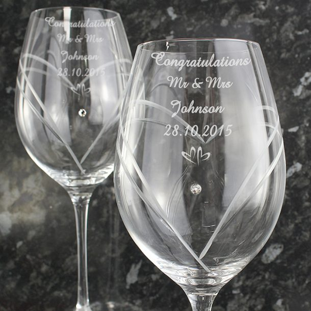 Personalised Swarovski Element Little Hearts Wine Glasses