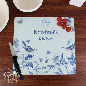 Personalised Blue Blossom Glass Chopping Board