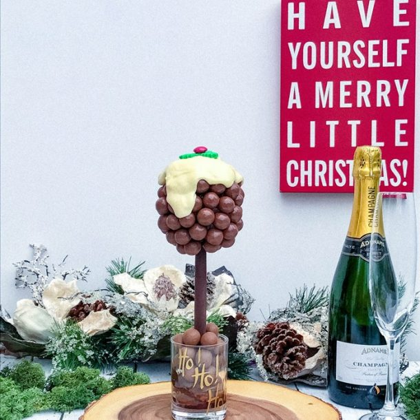Personalised Malteser Christmas Pudding Sweet Tree