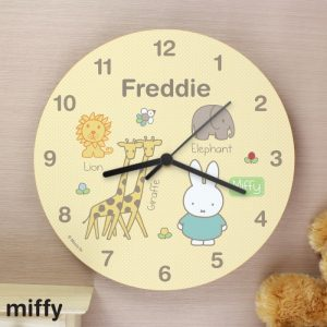 Personalised Miffy at the Zoo Wooden Clock