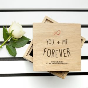 Engraved Infinite Love Oak Photo Cube