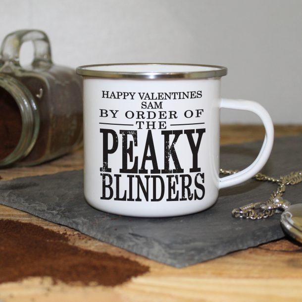 Personalised Peaky Blinders Enamel Valentines Mug