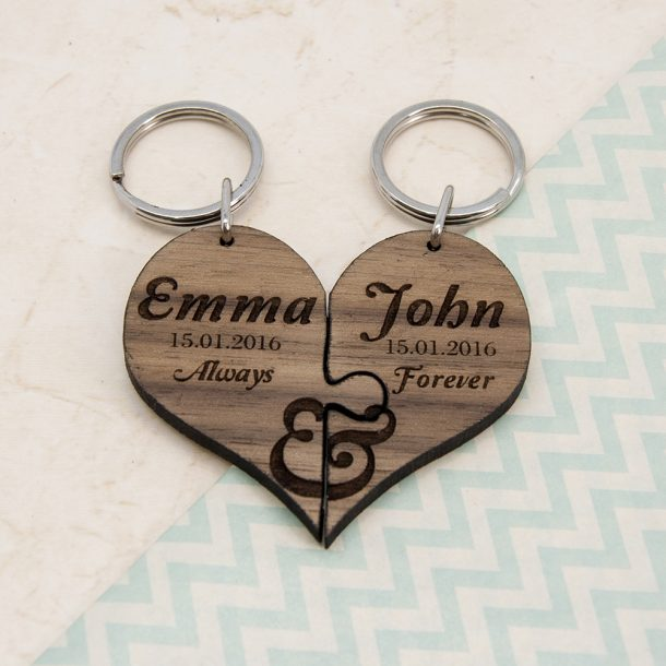 Personalised Always & Forever Couples Jigsaw Keyring