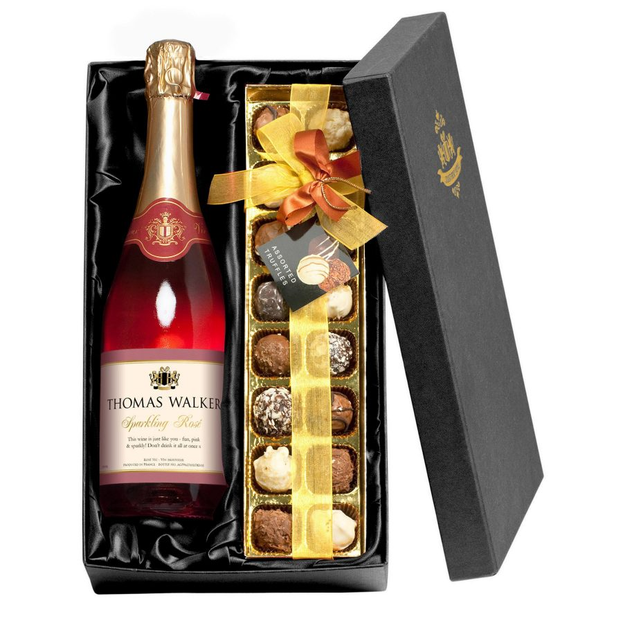 Personalised Any Occasion Sparkling Rose Wine Chocolates Giftpack Love My Gifts