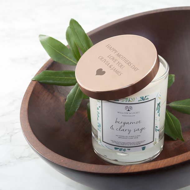 Personalised Bergamot & Clary Sage Scented Jar Candle