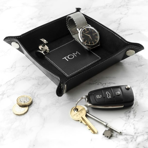 Personalised Black Luxury Valet Tray