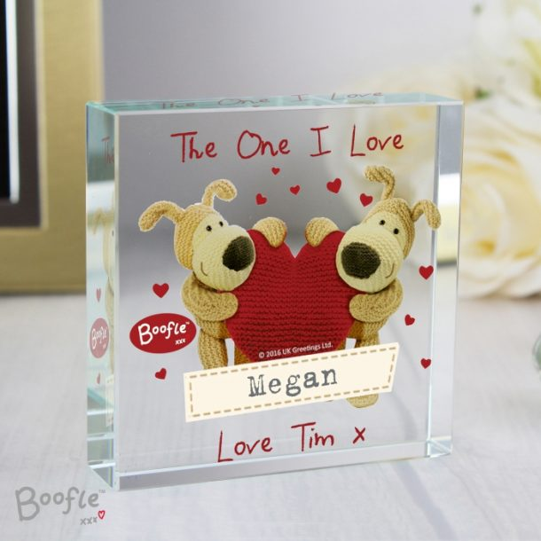 Personalised Boofle Shared Heart Large Crystal Token