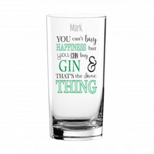 Personalised Can't Buy Happiness Gin Glass